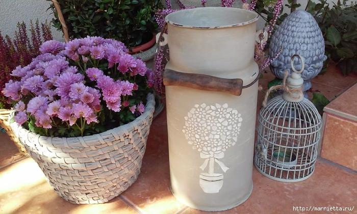 Красивая идея декорирования старого бидона (3) (700x420, 274Kb)