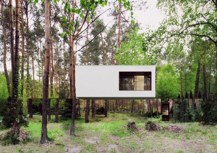 современная архитектура дом с зеркальным фасмдом 1 (700x495, 471Kb)
