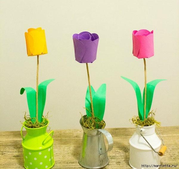 Детское творчество к 8 марта. Тюльпаны из бумаги (8) (600x567, 138Kb)