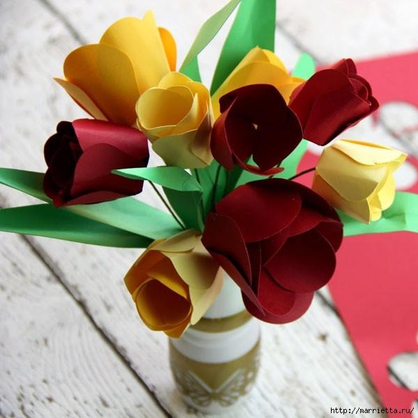 Детское творчество к 8 марта. Тюльпаны из бумаги (11) (600x600, 159Kb)