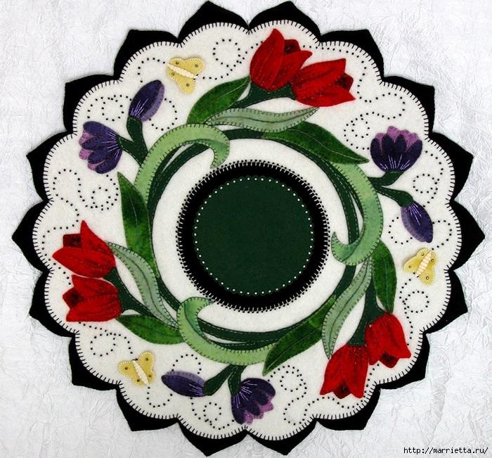 Самые красивые салфетки с аппликацией из шерстяного войлока (2) (700x651, 417Kb)