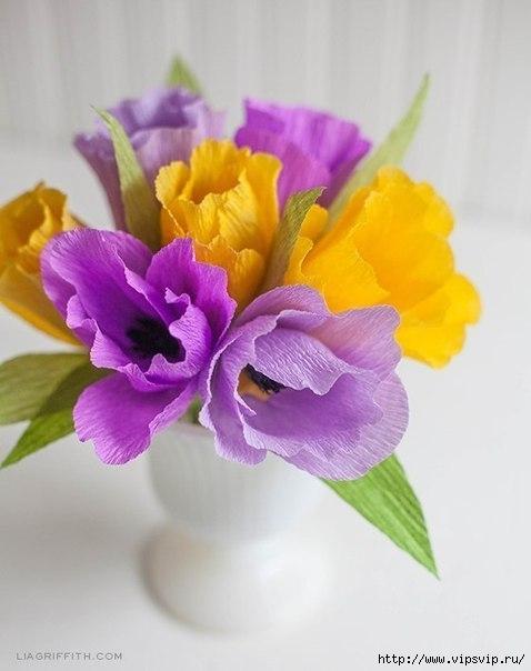 Яркие весенние тюльпаны из креповой бумаги (478x604, 110Kb)