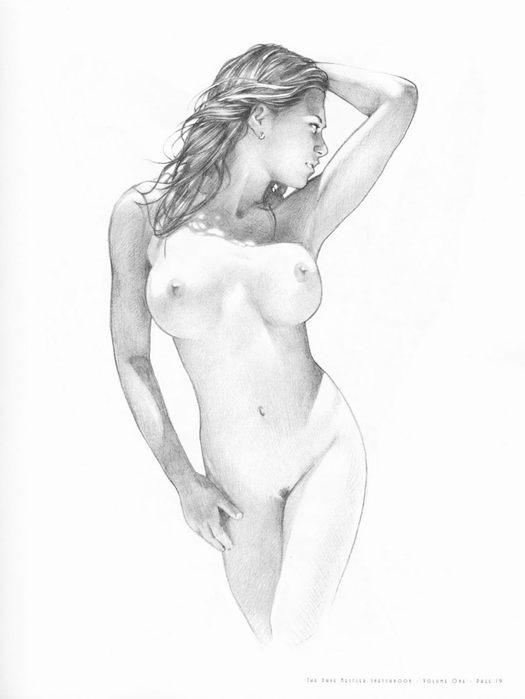 порно художница в белой рубашке рисует карандашом голого мужика