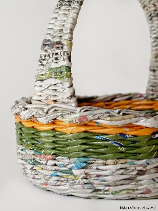 Плетение простых корзинок из газетных трубочек (11) (525x700, 205Kb)