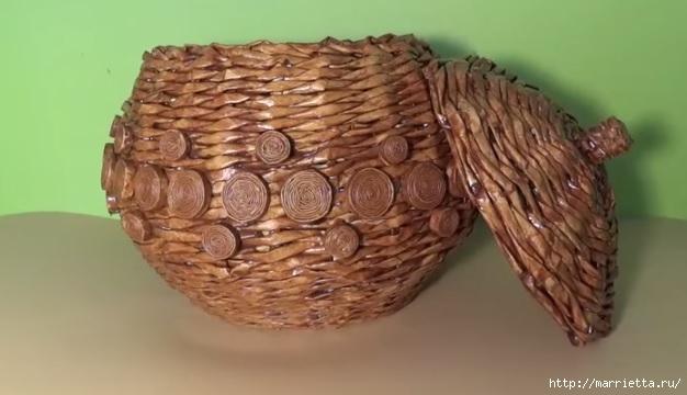 Круглая ваза из газет. Видео мастер-класс (3) (626x360, 111Kb)