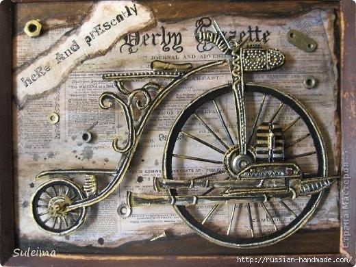 Панно с ретро велосипедами в технике стимпанк (2) (520x390, 166Kb)
