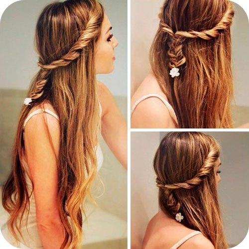 Быстрая прическа для длинных распущенных волос