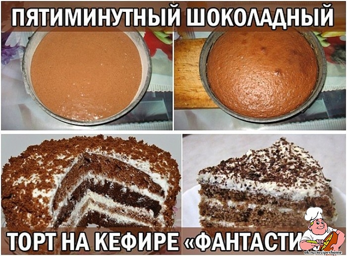 Рецепт торта на кефире в домашних условиях