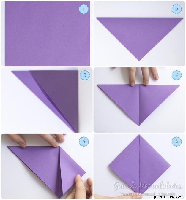 Водяная лилия из бумаги в технике оригами (3) (626x674, 193Kb)
