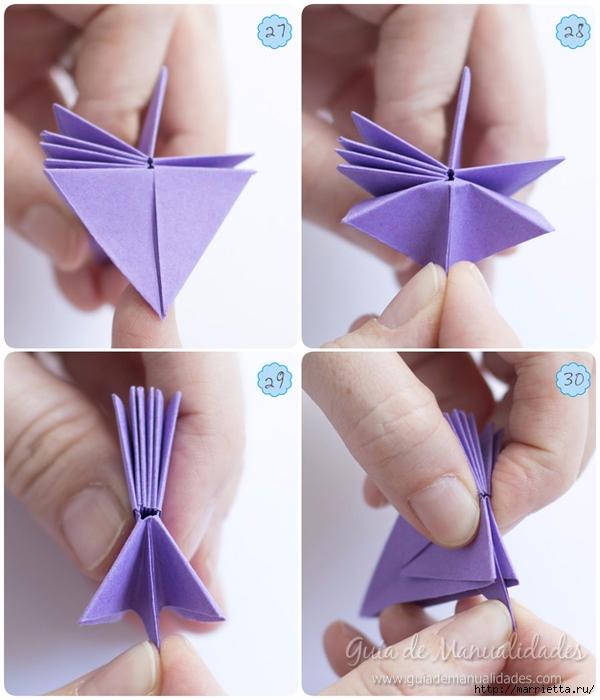 Водяная лилия из бумаги в технике оригами (8) (600x700, 235Kb)