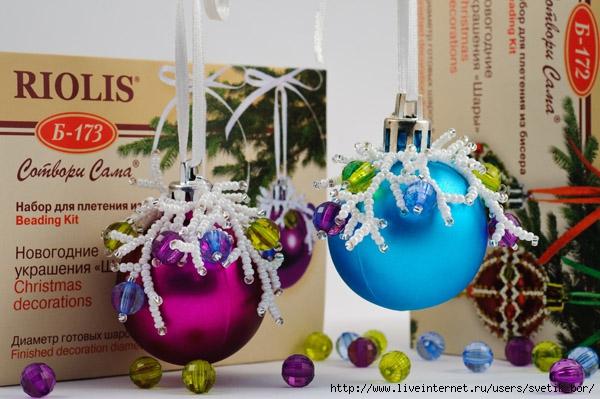 Как украсить новогодние шары своими руками фото