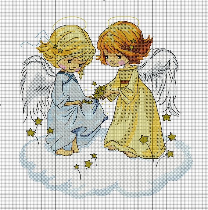 Звездный ангел схема вышивки крестом 90