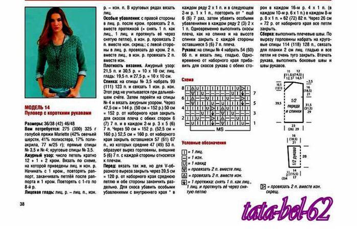Вязание спицами свитер женский с описанием и схемой 708