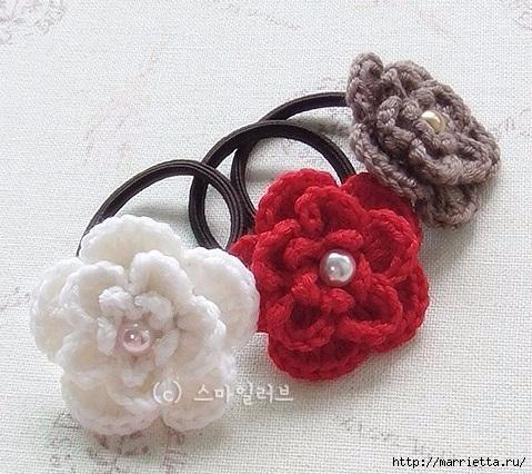 Цветочек крючком для украшения резиночки для волос (1) (479x426, 180Kb)