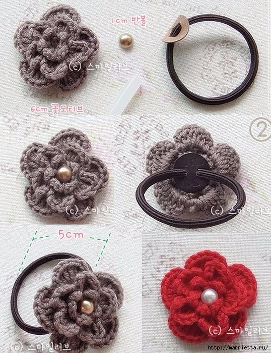 Цветочек крючком для украшения