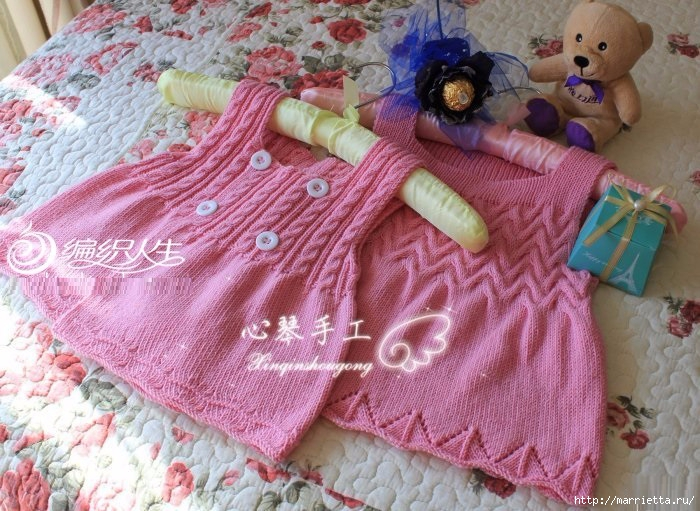 Сарафан для маленькой девочки спицами (5) (700x511, 295Kb)