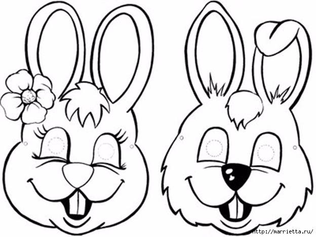 Маски кроликов для детского праздника (8) (624x469, 137Kb)