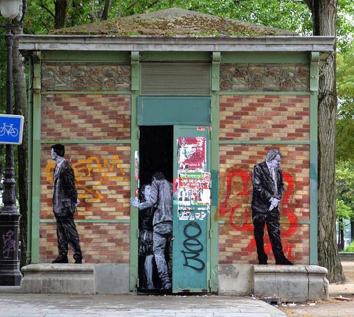 Levalet: Проделки художника на улицах Парижа (забавный стрит арт)