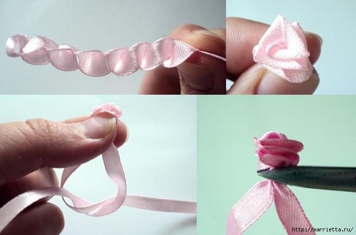 Розочки из узких атласных ленточек своими руками