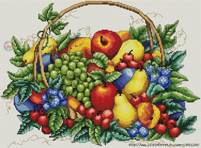 Вышивка фрукты ягоды 32
