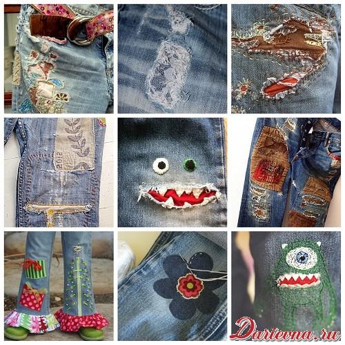 Вышивка заплаток на джинсах