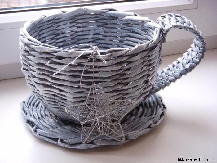 плетение корзинок из газетных трубочек (18) (700x525, 296Kb)