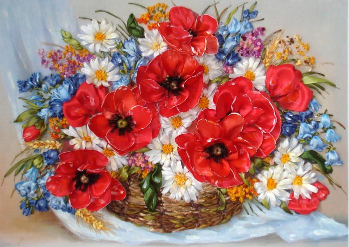 Корзинка с луговыми цветами