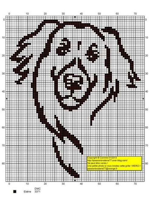 Схемы для вышивки монохром собак