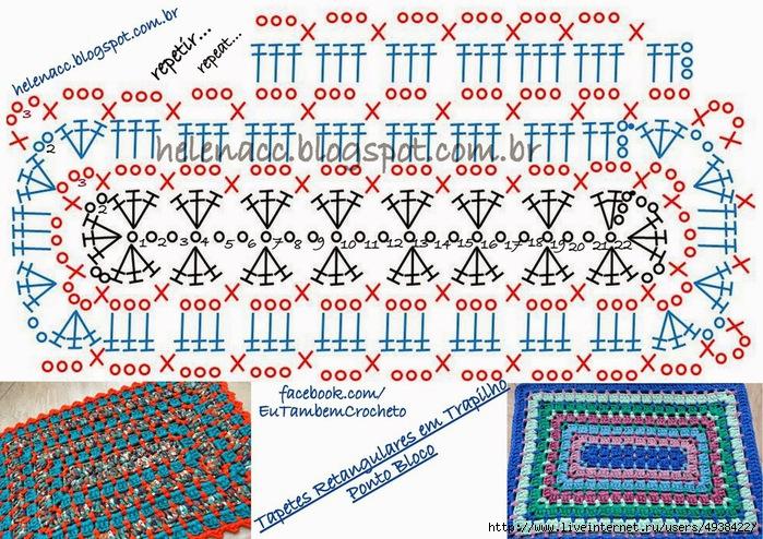 Вязание крючком прямоугольных ковриков 25