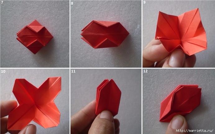 Бумажные цветы в горшочках в технике оригами (8) (692x433, 173Kb)