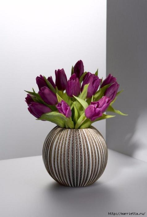 Креативная ваза из картона (3) (476x700, 156Kb)