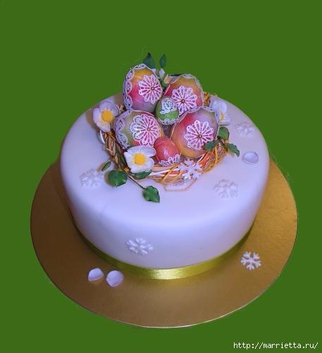 3D торт из марципана с кружевными пасхальными яйцами (9) (457x500, 64Kb)