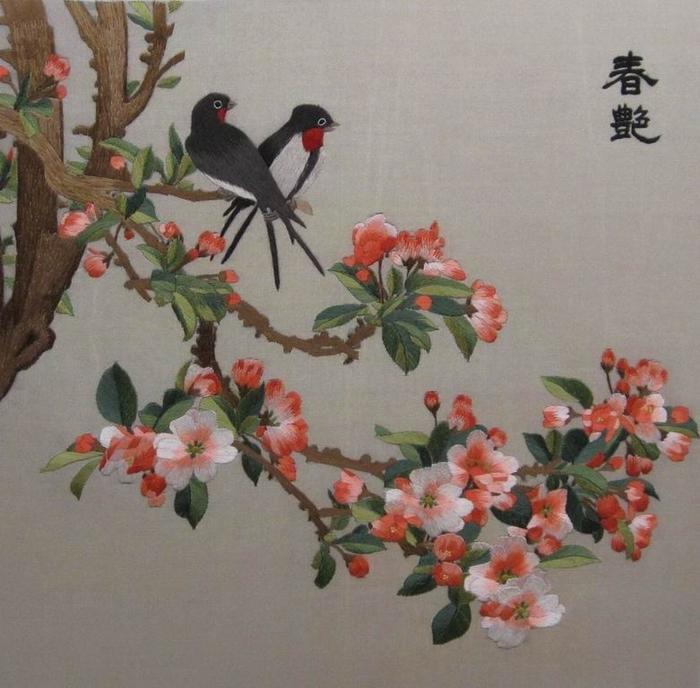 В результате появились шедевры вышивки шелком.  В первой половине прошлого века мастерам вышивки г.Сучжоу удалось...