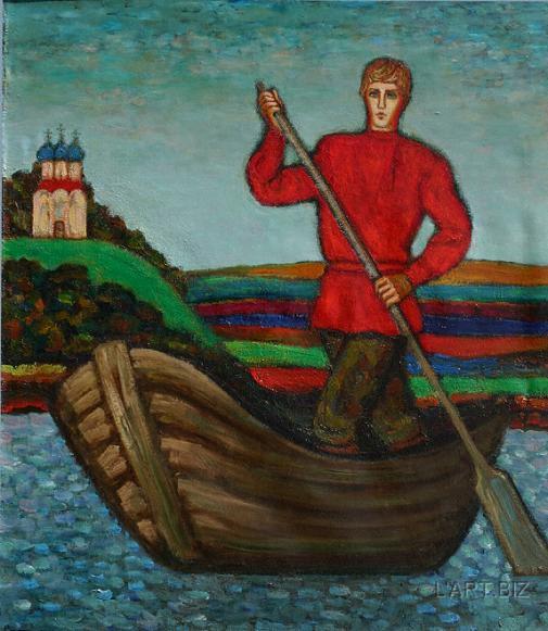 русские гребцы в лодке