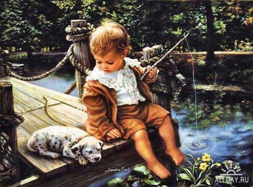 Счастливый мир детства / Художница Sandra Kuck.  Живопись. дети.