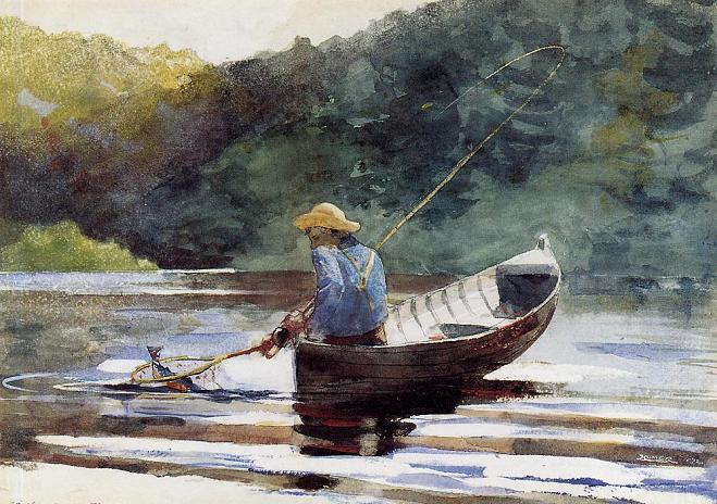 картина рыбак на лодке с удочкой