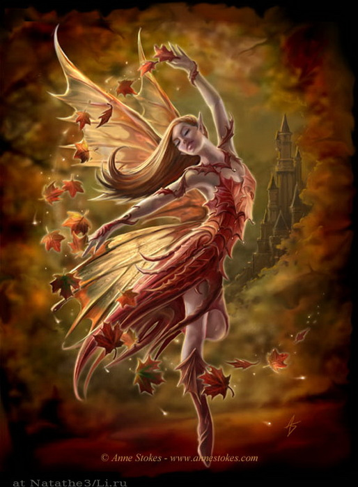 """Схема вышивки  """"Autumn fairy.  Anne Stokes """" ."""