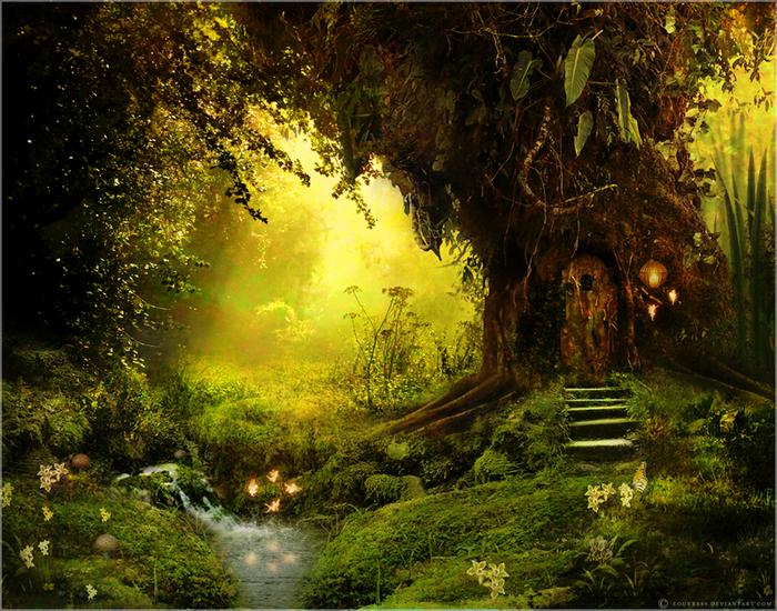 Тёплый, солнечный лес.  В нём очень часто поют птицы, играют разные зверьки, снуют ящерки.