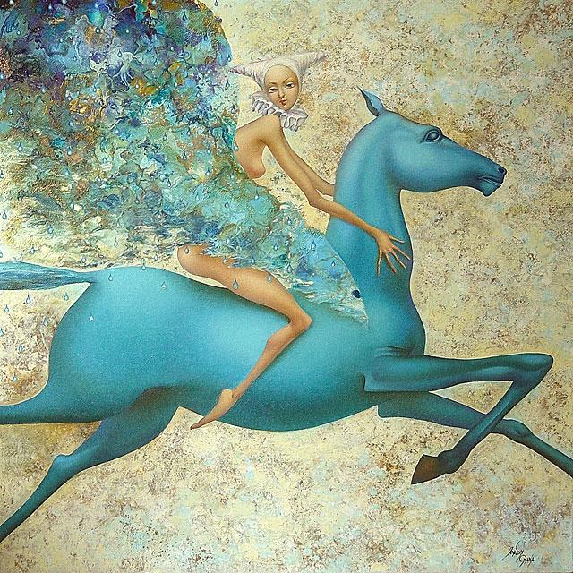 Притча. Голубая лошадь с черным хвостом