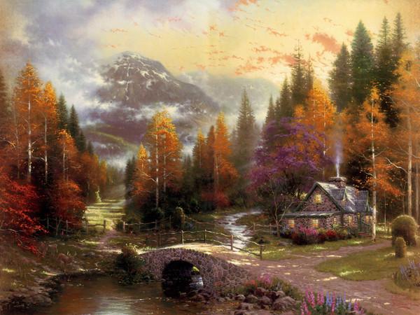 природа, пейзаж, живопись, картина, thomas kincaid, искусствр
