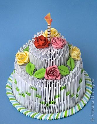 Оригами.Схема сборки торта.