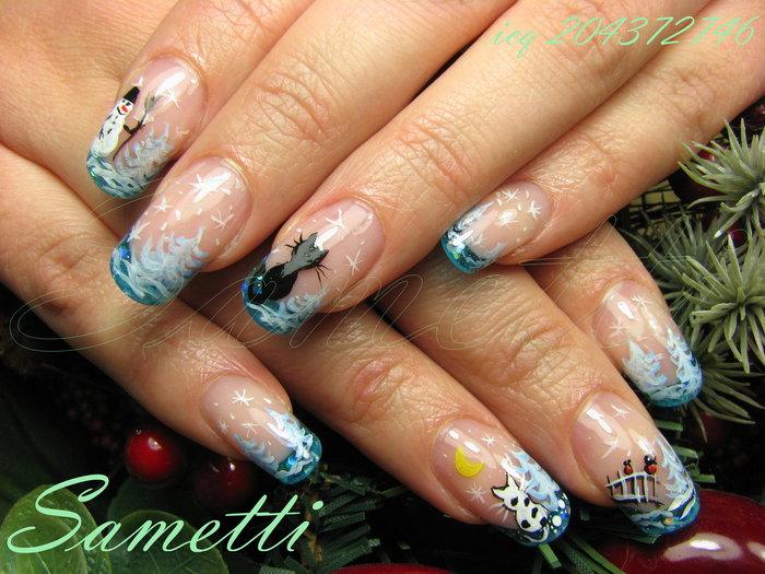 Новогодние дизайны нарощенных ногтей