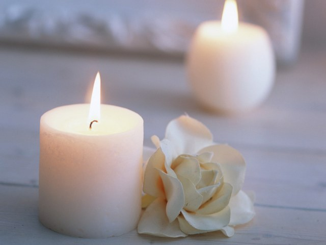 Два цветка и свеча фото