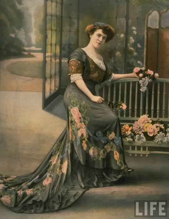 Описание: Цветочный орнамент на платье.