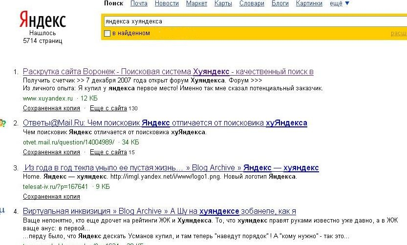 Сайты хуяндекс