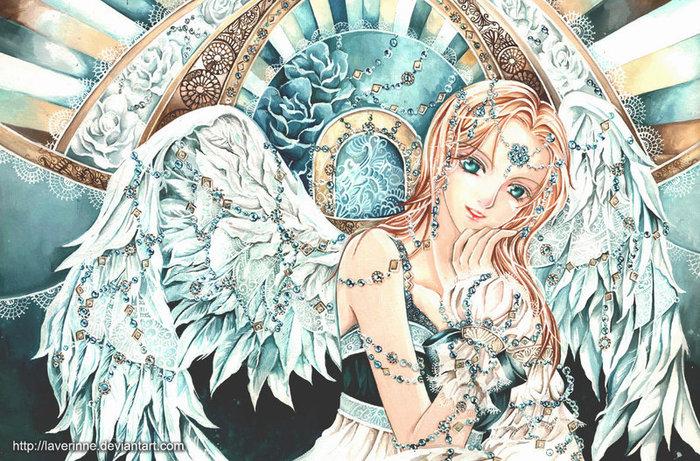"""Схема вышивки  """"Бирюзовый ангел """": таблица цветов."""