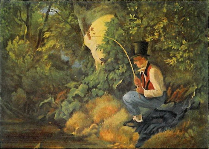 картина рыбак старинная