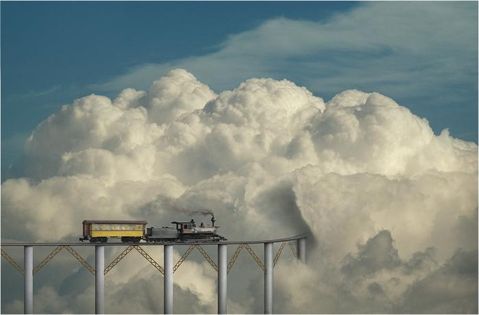 поезд облака железная дорога