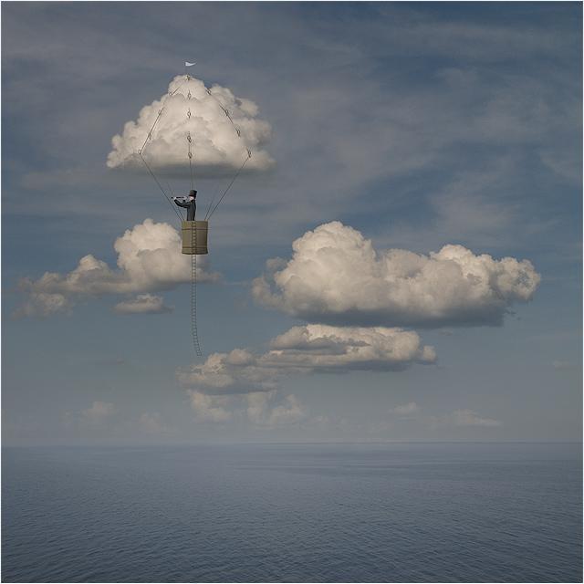 воздушный шар полет человек подзорная труба море