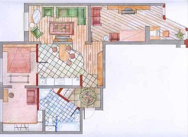 Перепланировка 3-комнатной квартиры дизайн